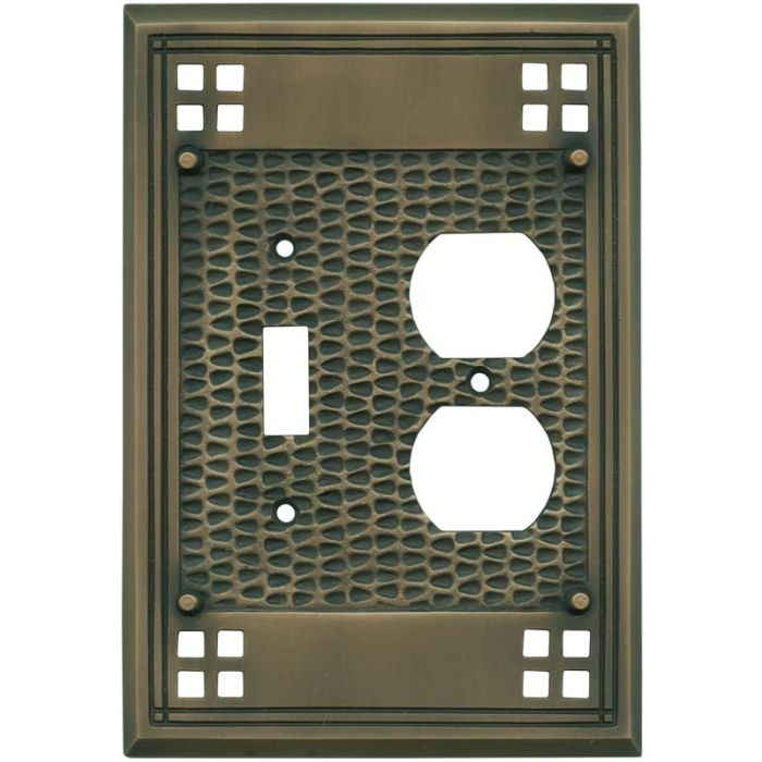 Mission Classic Antique Brass Combination 1 Toggle / Outlet Cover Plates