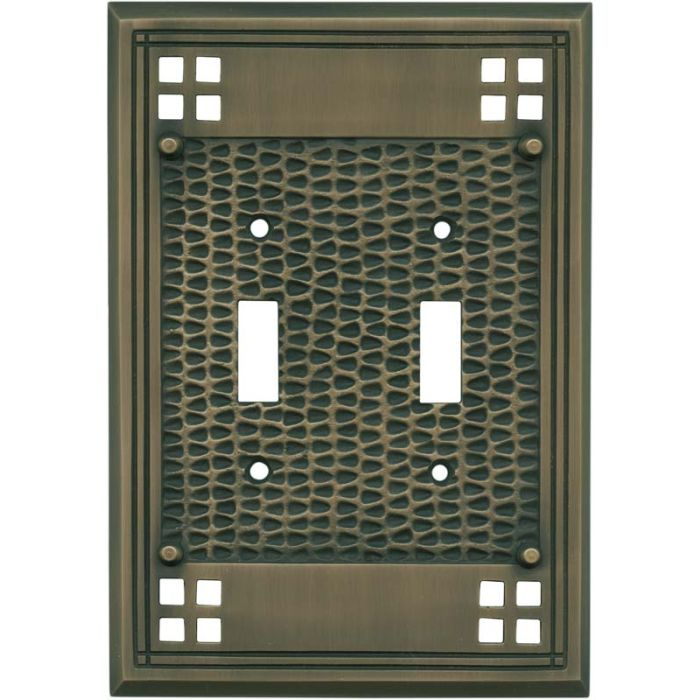 Mission Classic Antique Brass Double 2 Toggle Switch Plate Covers
