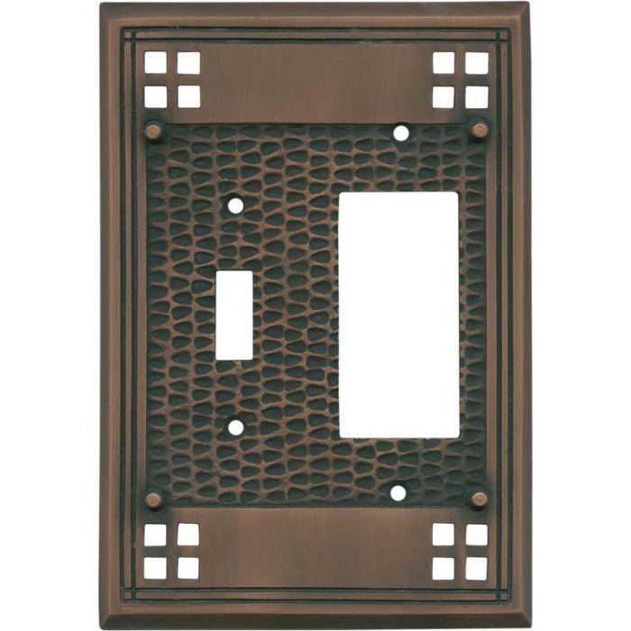 Mission Classic Antique Copper Combination 1 Toggle / Rocker GFCI Switch Covers