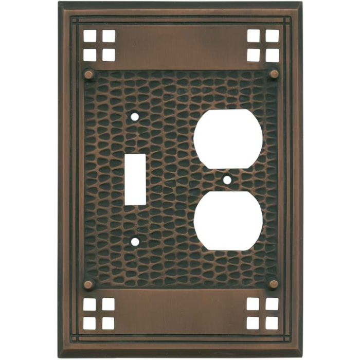 Mission Classic Antique Copper Combination 1 Toggle / Outlet Cover Plates