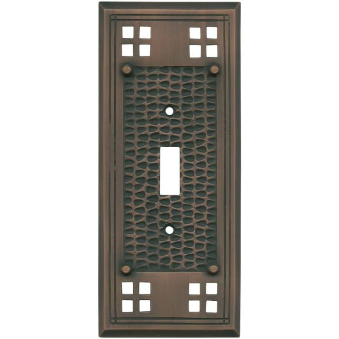 Mission Classic Antique Copper - 1 Toggle Light Switch Plates