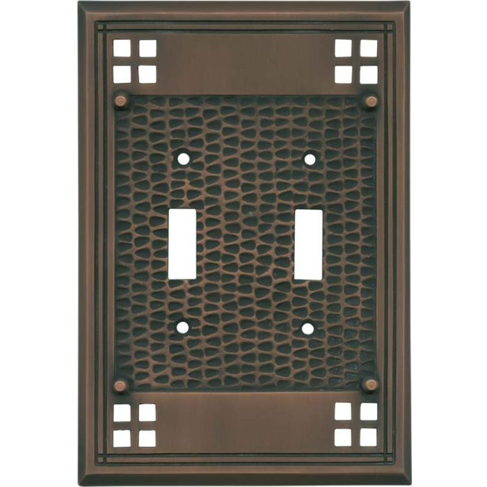 Mission Classic Antique Copper Double 2 Toggle Switch Plate Covers