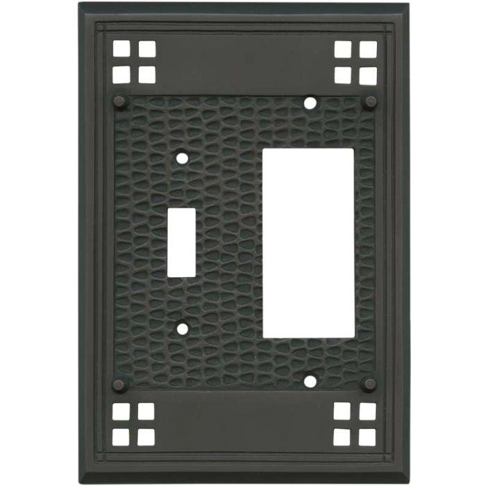 Mission Classic Oil Rubbed Bronze Combination 1 Toggle / Rocker GFCI Switch Covers