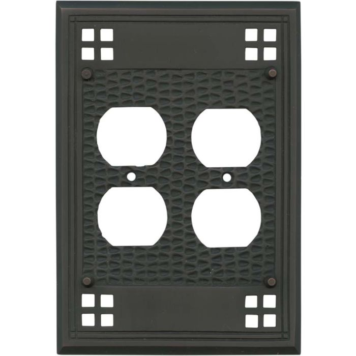 Mission Classic Oil Rubbed Bronze - 2 Gang Electrical Outlet Covers