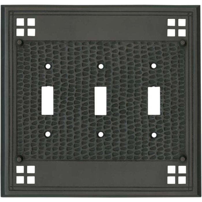 Mission Classic Oil Rubbed Bronze - 3 Toggle Light Switch Covers