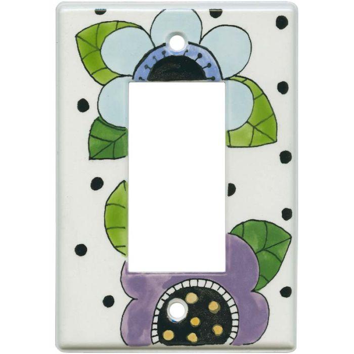 Mod Flowers Blue - Purple Single 1 Gang GFCI Rocker Decora Switch Plate Cover