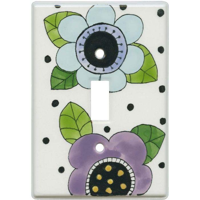 Mod Flowers Blue - Purple Single 1 Toggle Light Switch Plates
