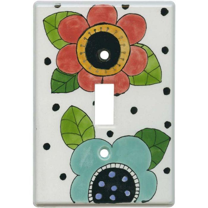 Mod Flowers Red - Aqua Single 1 Toggle Light Switch Plates