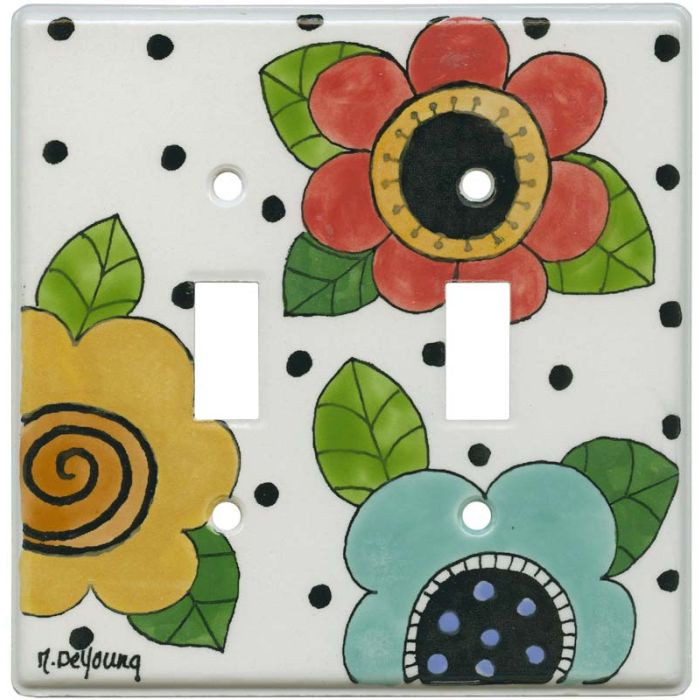 Mod Flowers Red - Aqua Double 2 Toggle Switch Plate Covers