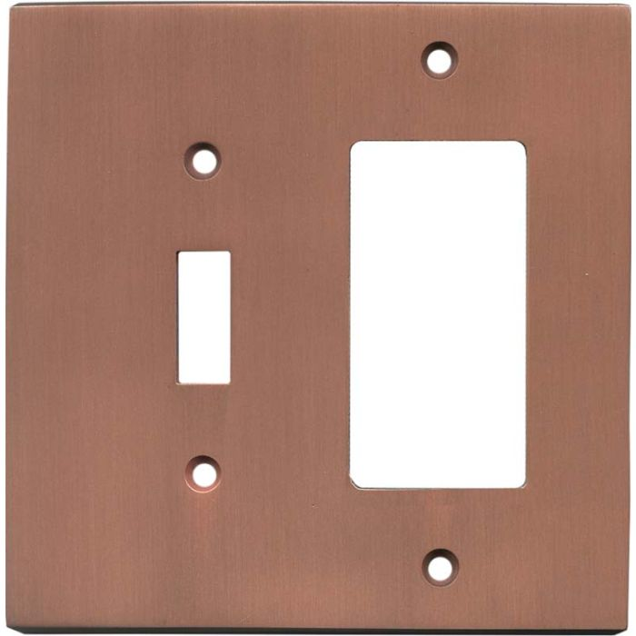 Straight Antique Copper Combination 1 Toggle / Rocker GFCI Switch Covers