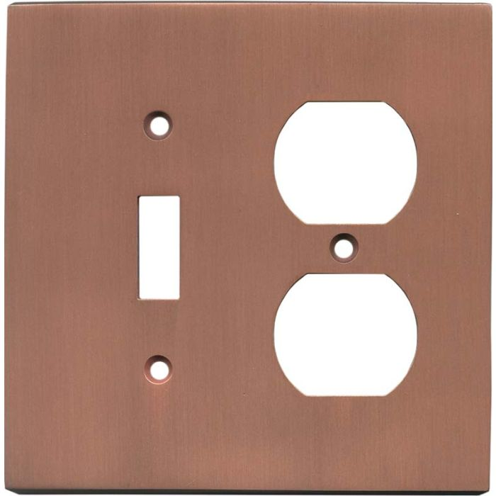 Straight Antique Copper - Combination 1 Toggle/Outlet Cover Plates