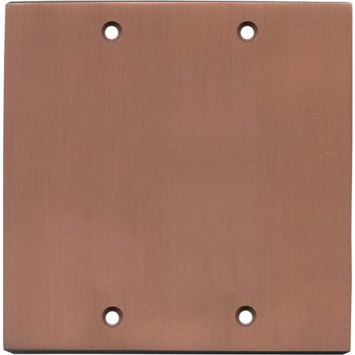 Straight Antique Copper Double Blank Wallplate Covers