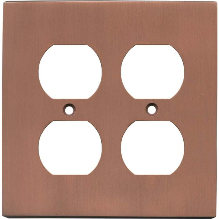 Straight Antique Copper 2 Gang Duplex Outlet Wall Plate Cover
