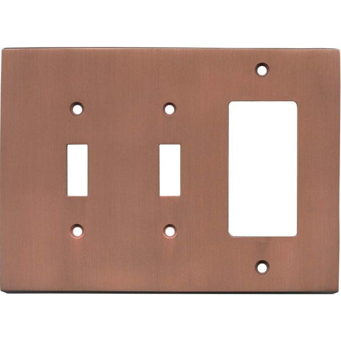 Straight Antique Copper - 2 Toggle/1 GFCI Rocker Switchplates