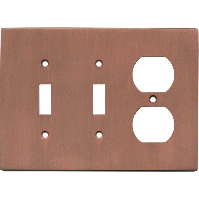 Straight Antique Copper - 2 Toggle/Outlet Combo Wallplates