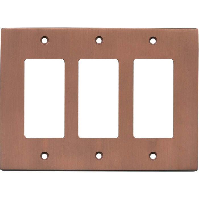 Straight Antique Copper - 3 Rocker GFCI Decora Switch Covers