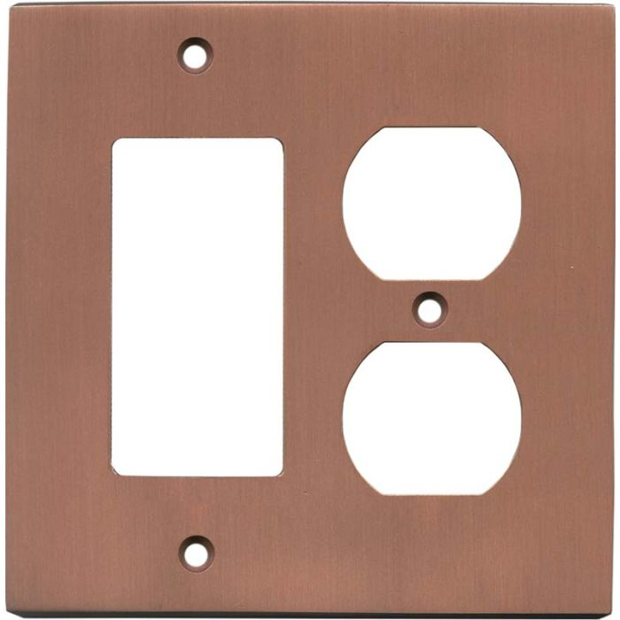 Straight Antique Copper Combination GFCI Rocker / Duplex Outlet Wall Plates