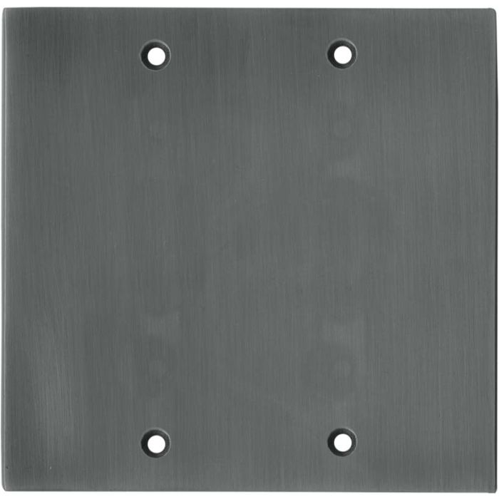 Straight Antique Pewter Double Blank Wallplate Covers