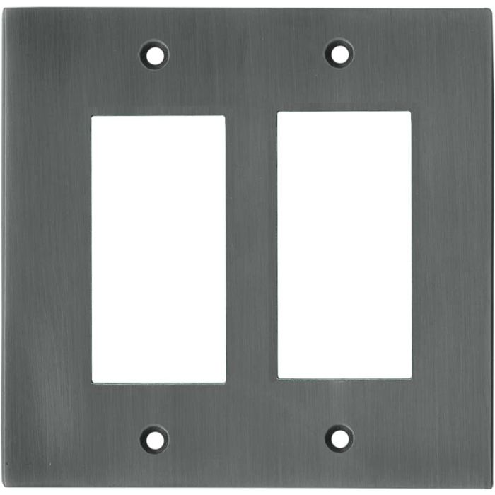 Straight Antique Pewter - 2 Gang Double GFCI Rocker Wallplates