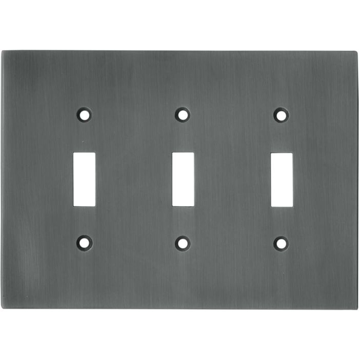 Straight Antique Pewter Triple 3 Toggle Light Switch Covers