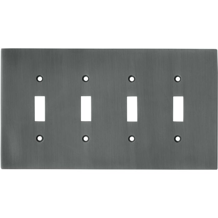Straight Antique Pewter - 4 Toggle Light Switch Covers