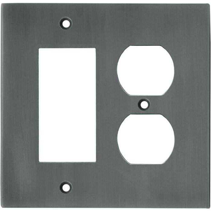 Straight Antique Pewter - GFCI Rocker/Duplex Outlet Wall Plates