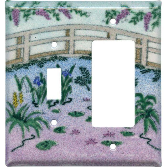 Monet's Garden 1 Toggle Wall Switch Plate - GFI Rocker Cover Combo