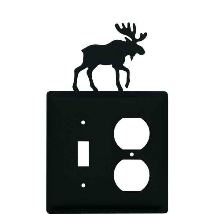 Moose Black Combination 1 Toggle / Outlet Cover Plates