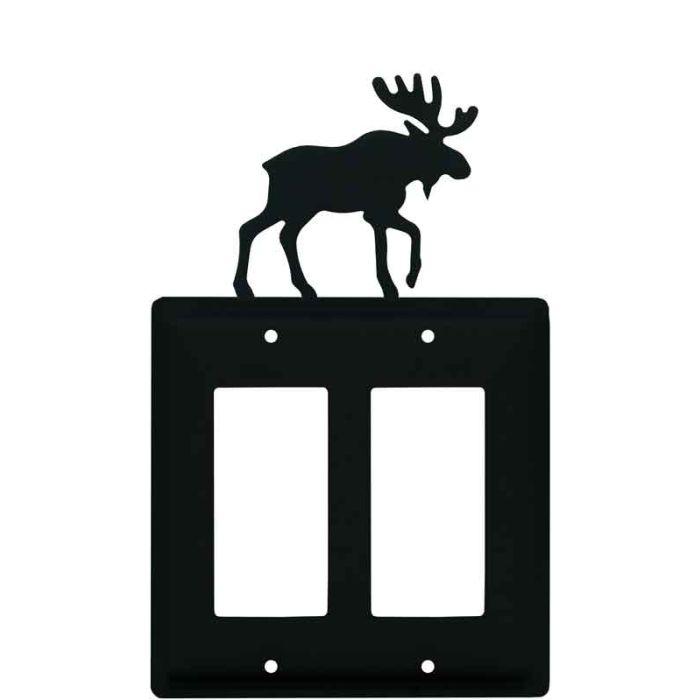 Moose Black 2 Gang Double GFCI Rocker Decorator Wallplates