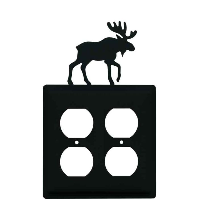 Moose Black 2 Gang Duplex Outlet Wall Plate Cover