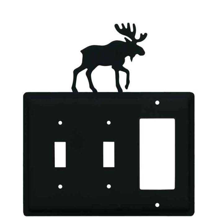 Moose Black Double 2 Toggle / 1 GFCI Rocker Combo Switchplates
