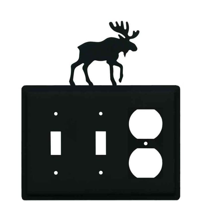 Moose Black Double 2 Toggle / Outlet Combination Wall Plates