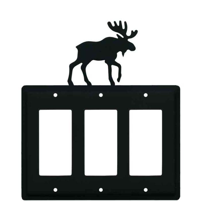 Moose Black Triple 3 Rocker GFCI Decora Light Switch Covers