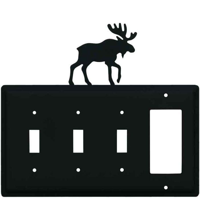 Moose Black Triple 3 Toggle / 1 Rocker GFCI Switch Covers