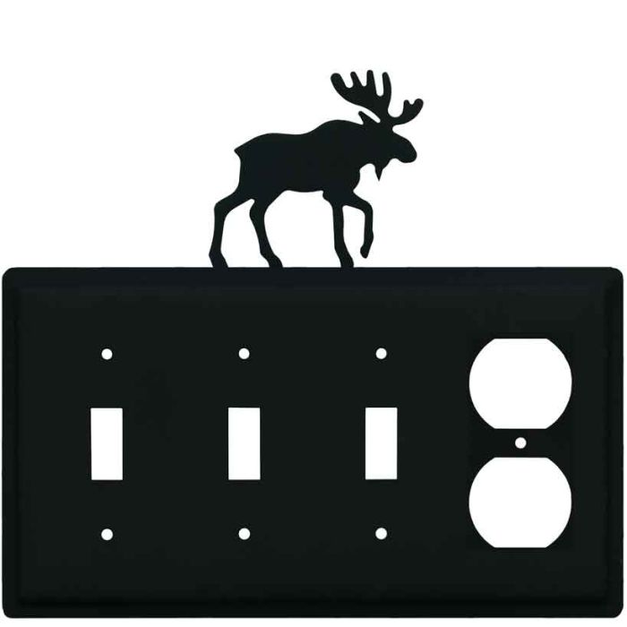 Moose Black Combination Triple 3 Toggle / Outlet Wall Plate Covers