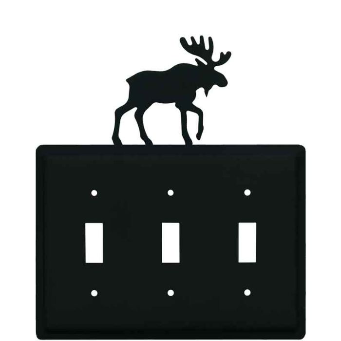 Moose Black Triple 3 Toggle Light Switch Covers