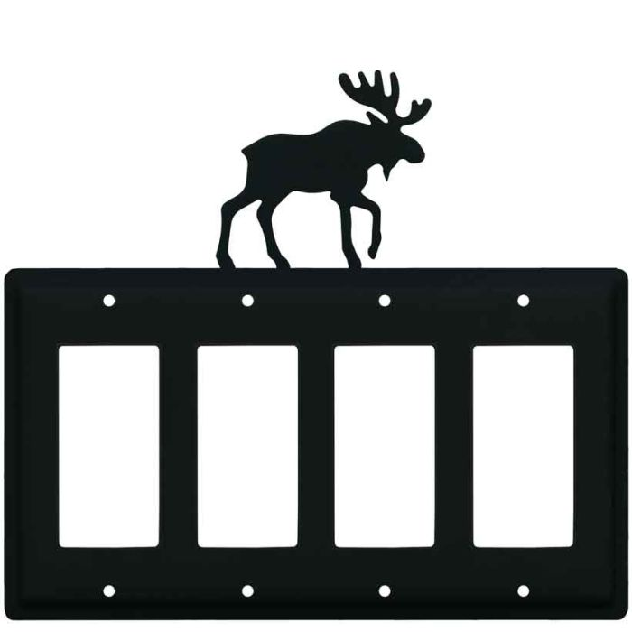 Moose Black 4 Rocker GFCI Decorator Switch Plates