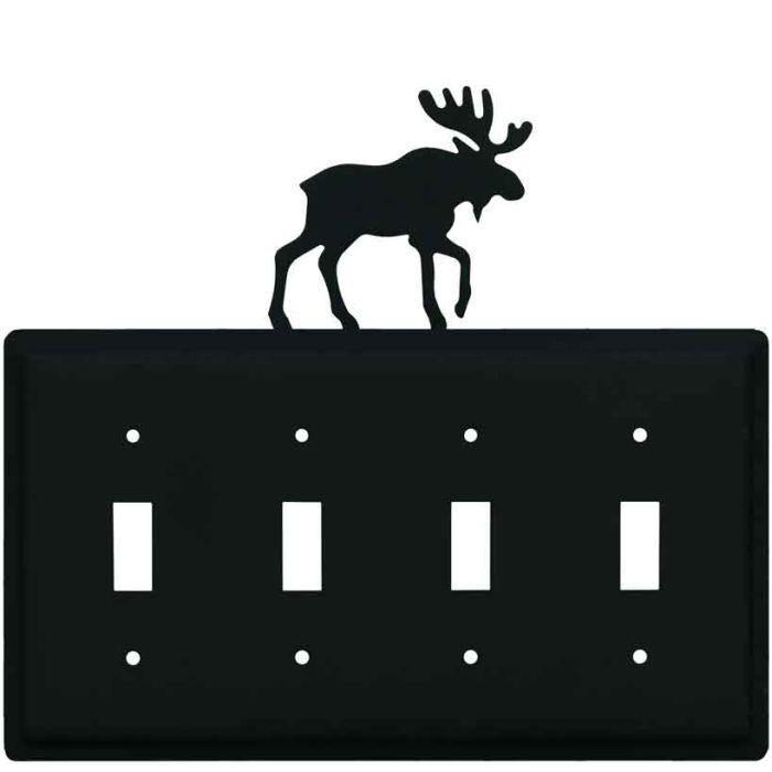 Moose Black Quad 4 Toggle Light Switch Covers