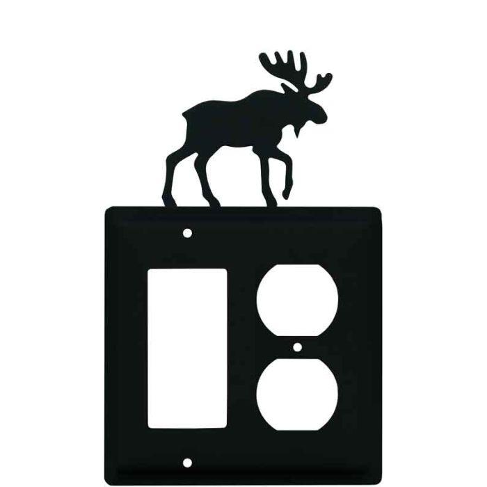 Moose Black Combination GFCI Rocker / Duplex Outlet Wall Plates