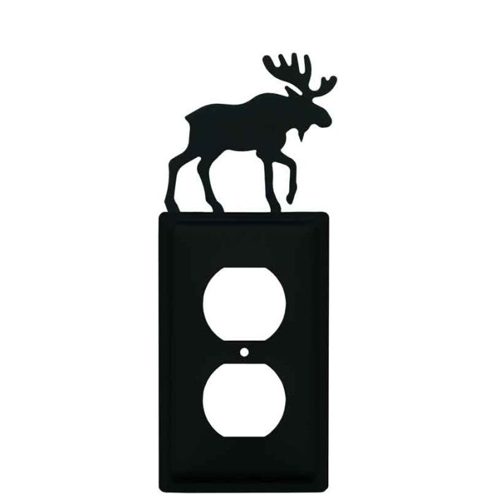 Moose Black 1 Gang Duplex Outlet Cover Wall Plate