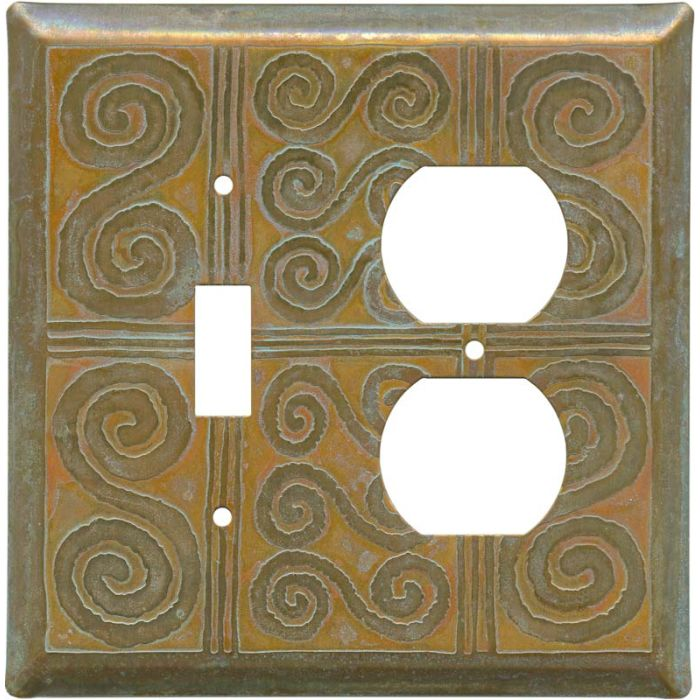 Morocco Tarnished Copper 1 Toggle Wall Switch Plate - Outlet Cover Combination