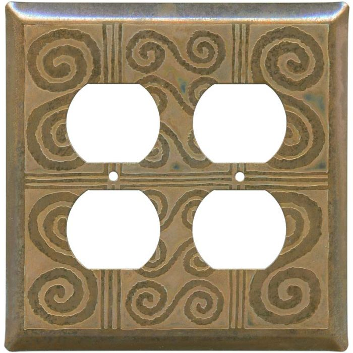 Morocco Tarnished Copper 2 Gang Duplex Outlet Wall Plate Cover