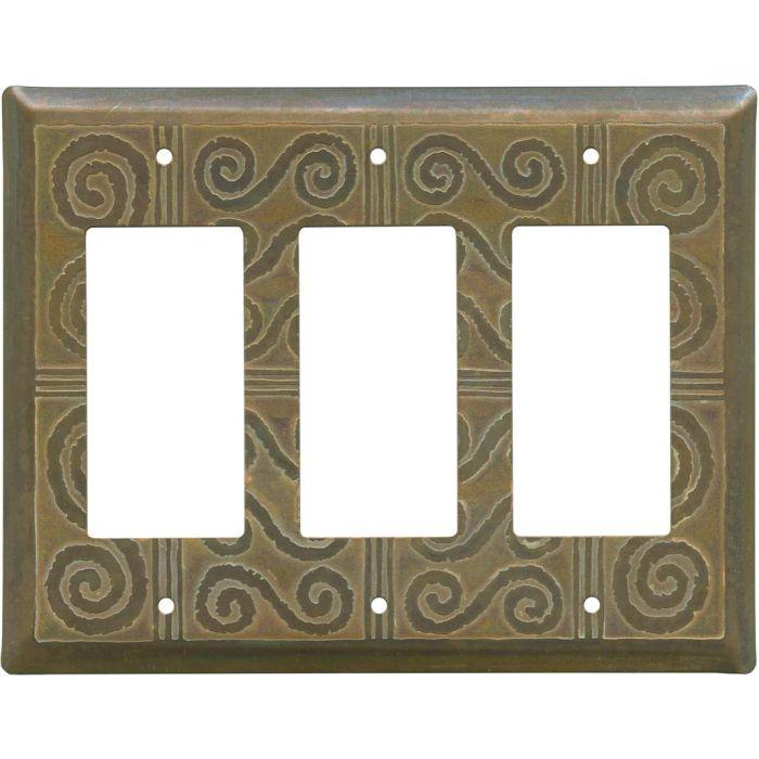 Morocco Tarnished Copper Triple 3 Rocker GFCI Decora Light Switch Covers