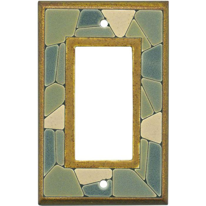 Mosaic Border Ceramic Single 1 Gang GFCI Rocker Decora Switch Plate Cover