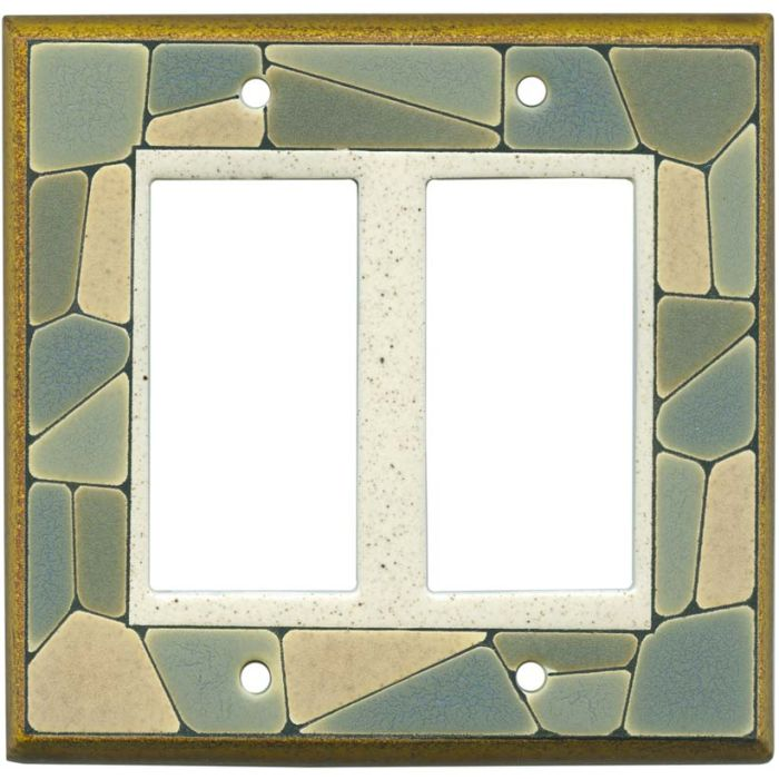 Mosaic Border Ceramic 2 Gang Double GFCI Rocker Decorator Wallplates