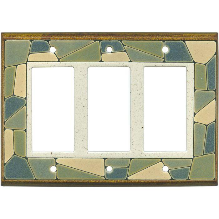 Mosaic Border Ceramic Triple 3 Rocker GFCI Decora Light Switch Covers