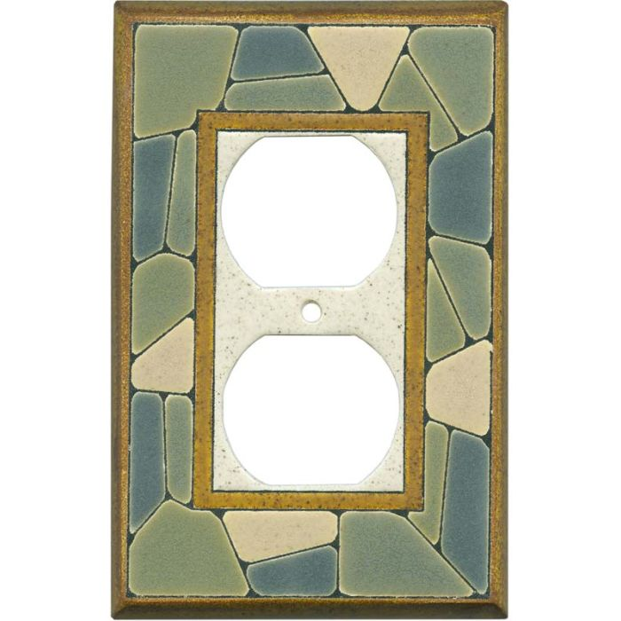 Mosaic Border Ceramic 1 Gang Duplex Outlet Cover Wall Plate