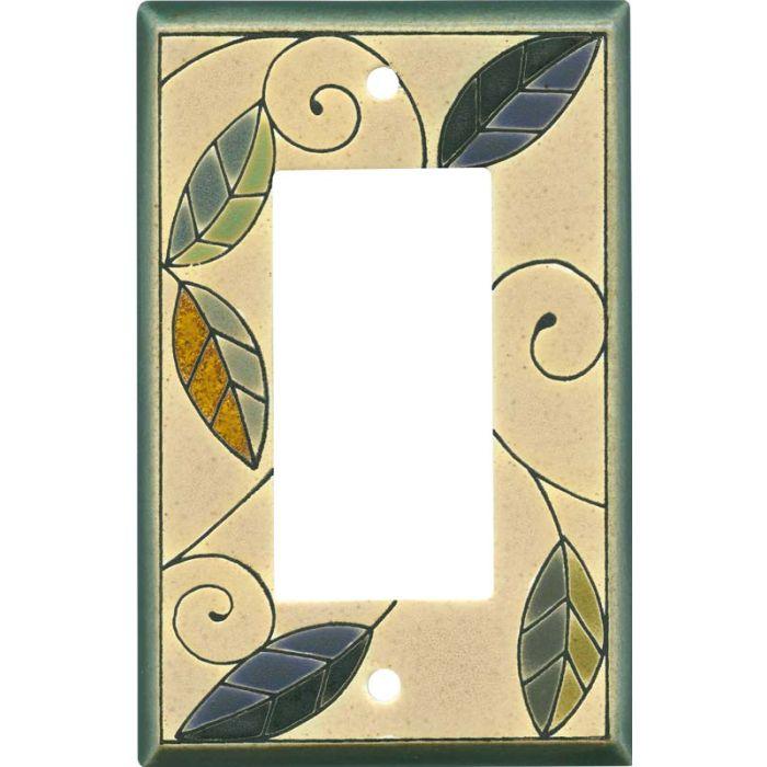 Mosaic Leaves Ceramic Single 1 Gang GFCI Rocker Decora Switch Plate Cover