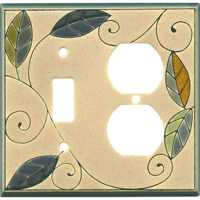 Mosaic Leaves Ceramic1 Toggle Wall Switch Plate - Outlet Cover Combination