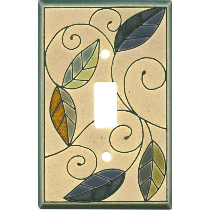 Mosaic Leaves Ceramic Single 1 Toggle Light Switch Plates
